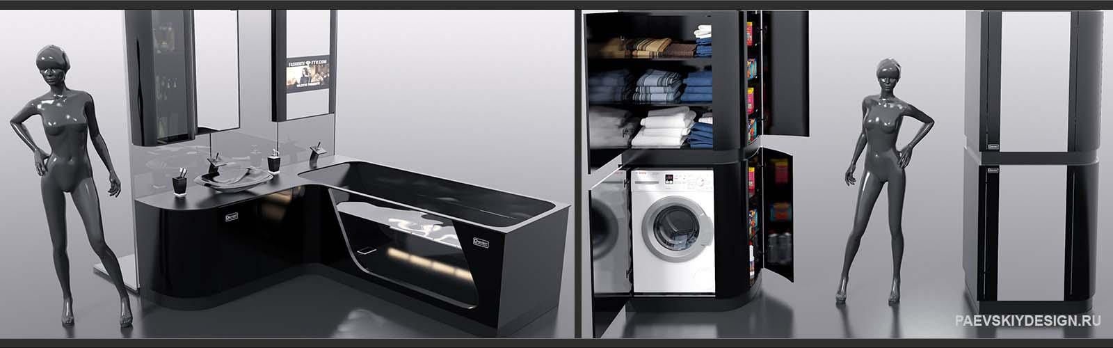 Авторская мебель для ванной FLEXURE - BLACK DIAMOND