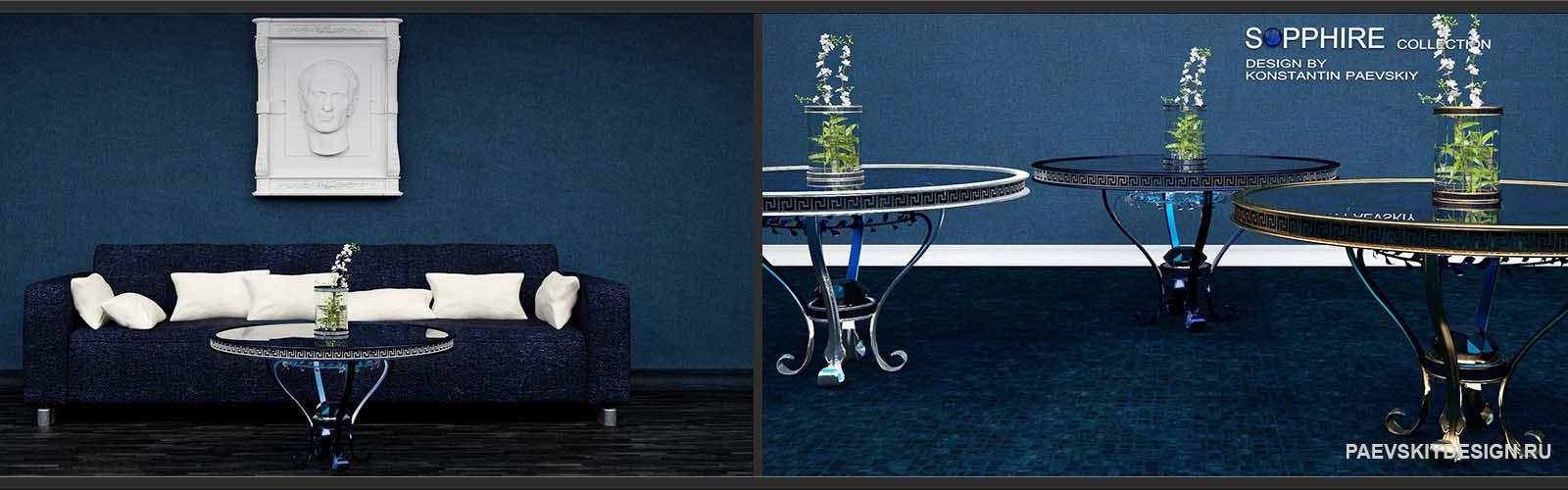 Дизайн авторской мебели - стол, ваза, софа, барельеф
