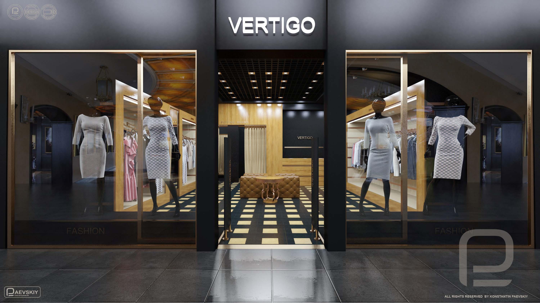 3d визуализация магазина одежды в торговом центре