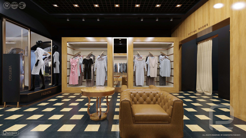 3d визуализация интерьера магазина одежды