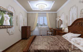 Классический дизайн интерьера спальни в квартире.