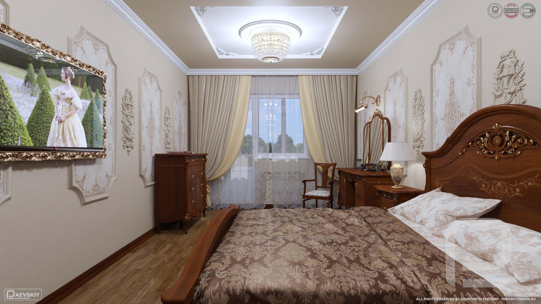 3D визуализаций интерьера спальни в квартире