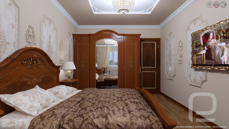 3D визуализаций классического дизайна интерьера спальни в квартире