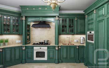 Дизайн интерьера кухни в классическом стиле.