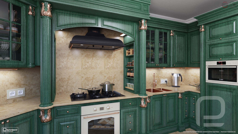 3D визуализация кухни в классическом стиле