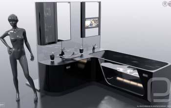 Авторская мебель для ванной FLEXURE — BLACK DIAMOND.