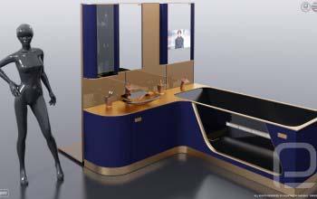 Авторская мебель для ванной FLEXURE — BLUE TOURMALINE.