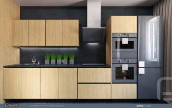 Современный интерьер с авторской мебелью для кухни.