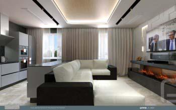 Современный дизайн интерьера гостиной кухни.