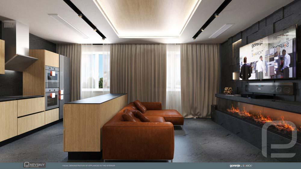 дизайн интерьера гостиной кухни в современном стиле