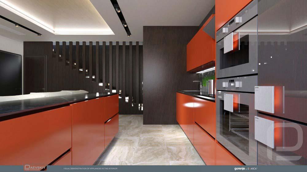 функциональный дизайн интерьера гостиной кухни