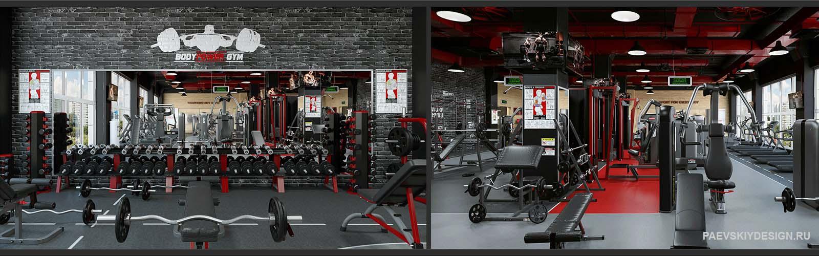 Современное оформление интерьера тренажерного зала, фитнесс центра