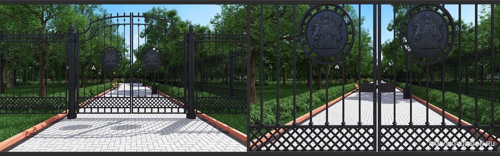 кованное ограждение, забор, ворота
