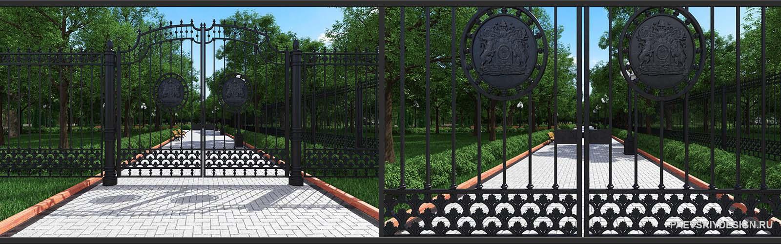 дизайн кованного ограждения, забора, ворот для парка, сквера