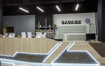 Дизайн фитнес клуба SAVAGE в Московской области.
