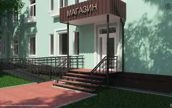 Дизайн фасада здания жилого дома.