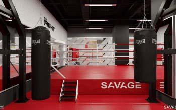 Оформление зала единоборств фитнес клуба.