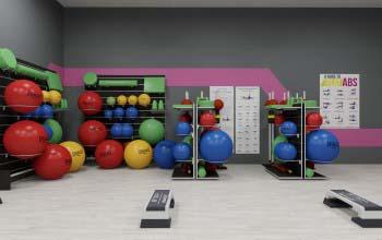 Оформление зала групповых занятий фитнес клуба.