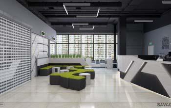 Дизайн холла фитнес клуба, зона ресепшн.