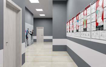 Оформление коридоров фитнес клуба.