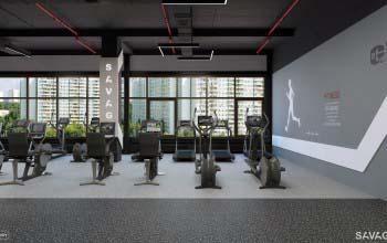 Дизайн тренажерного зала фитнес клуба.