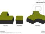Эскиз мягкой мебели фитнес клуба