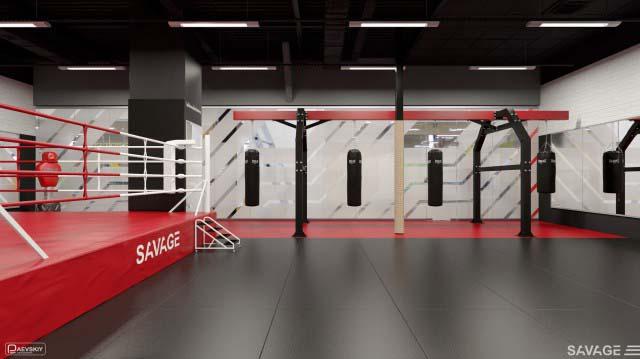 Оформление зала единоборств фитнес клуба SAVAGE