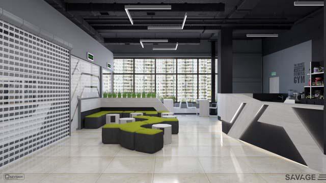 Дизайн холла фитнес клуба, зона ресепшн особенности оформления