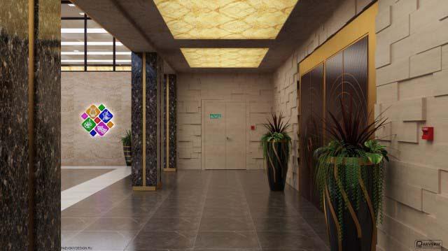 Дизайн фойе дома культуры общественного интерьера