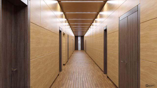 Оформление коридора в общественном интерьере дома культуры 2 этаж