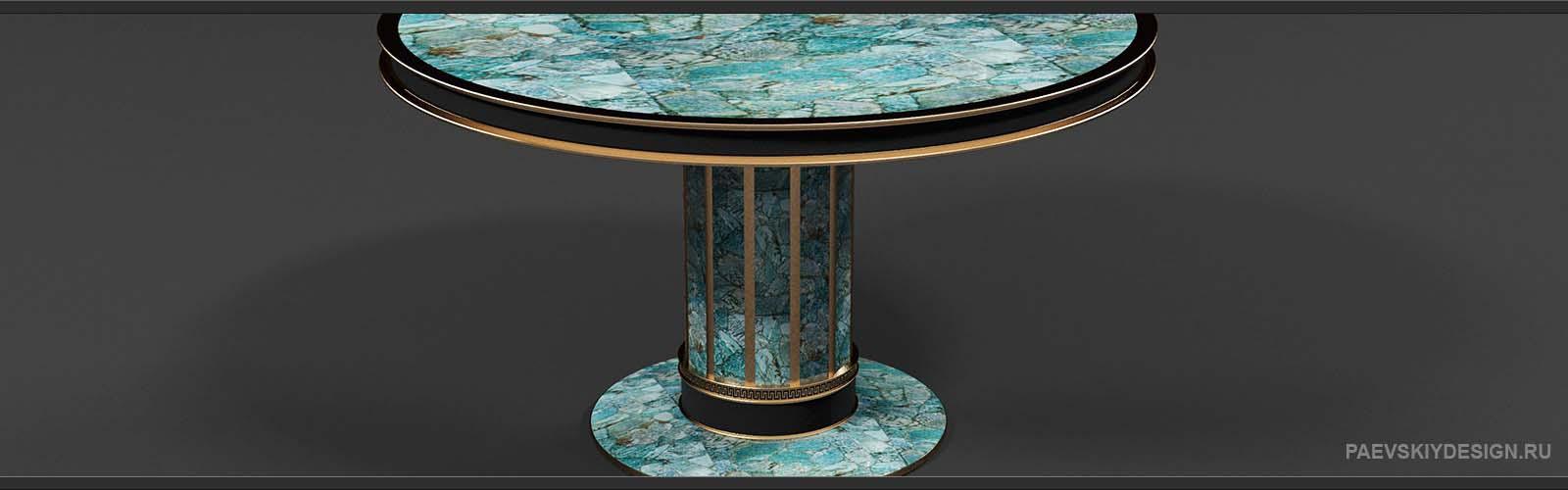 Журнальный стол с амазонитом и натуральной кожей