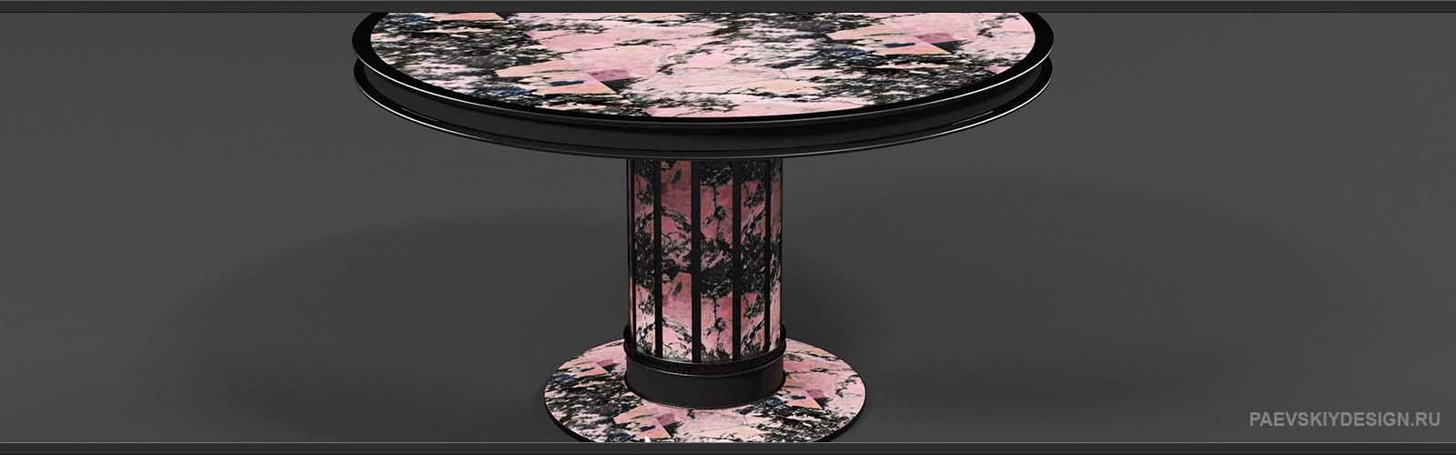 Журнальный стол с родонитом инструктированный кожей